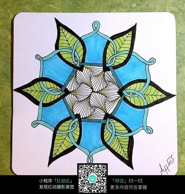 彩色树叶花纹 手绘黑白装饰画 复杂传统花纹插图 民族植物花卉插画
