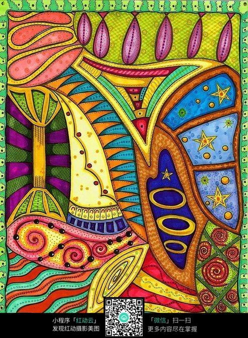 彩色装饰花纹手绘设计图片素材下载