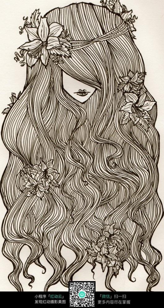 长发花朵美女手绘