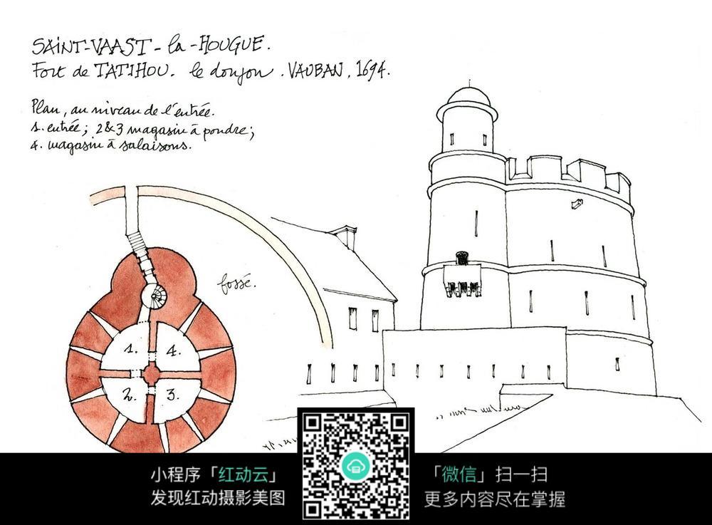 城堡火车建筑物手绘线描图片