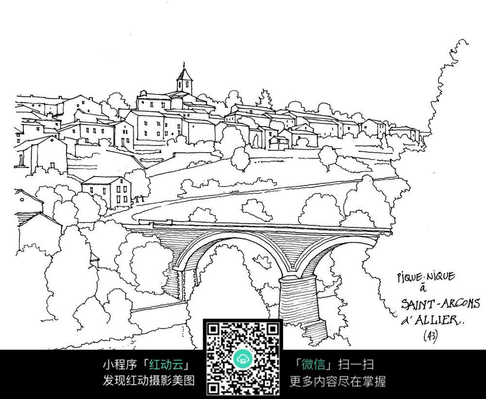 城市建筑桥梁手绘线稿图图片