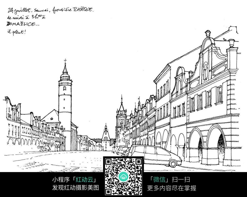 免费素材 图片素材 漫画插画 其他 城市建筑速写图片
