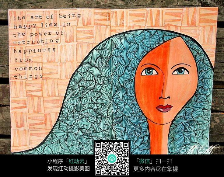 抽象长发女孩手绘人物