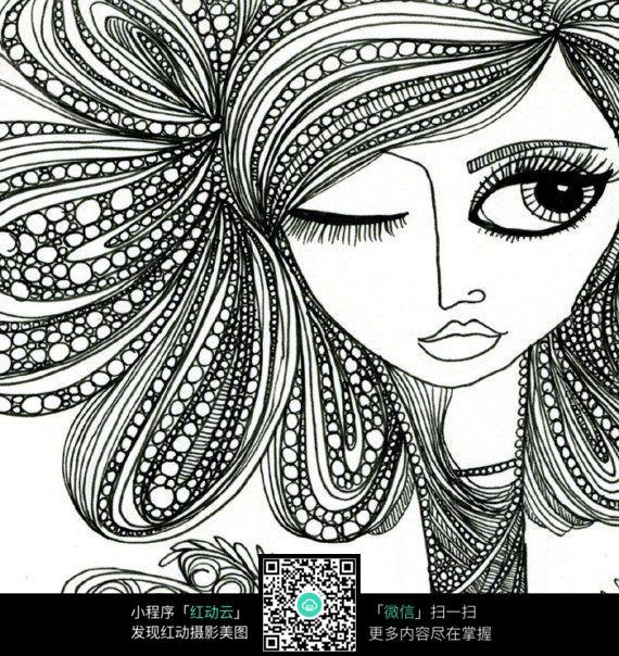 抽象女性人脸插画设计