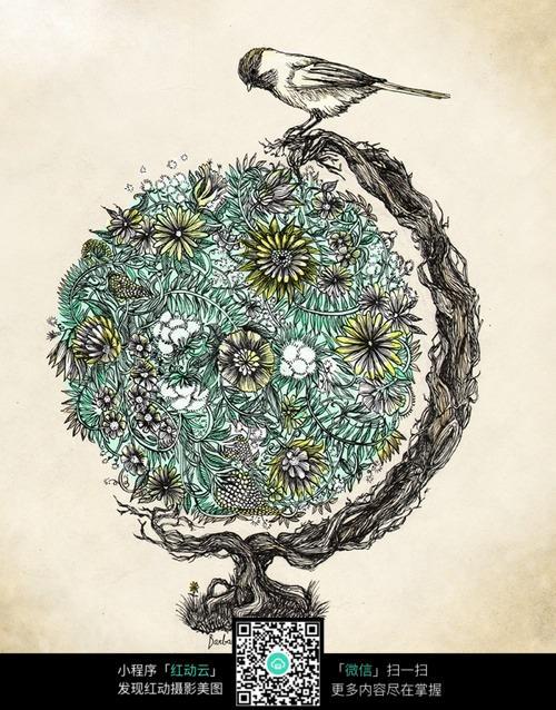 地球仪图片 生活百科 学习用品 创意地球仪 鸟 古树 菊花 花朵 花草
