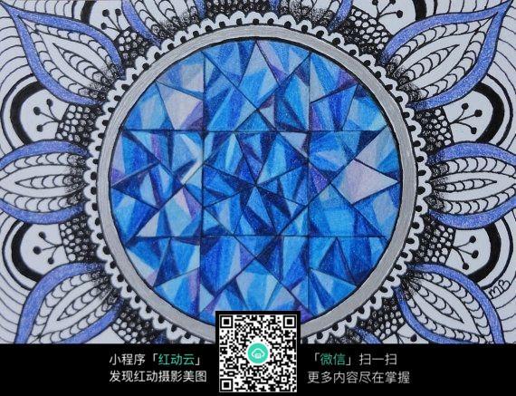 创意蓝色圆形手绘插画