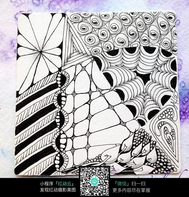 创意设计手绘版画纹饰图