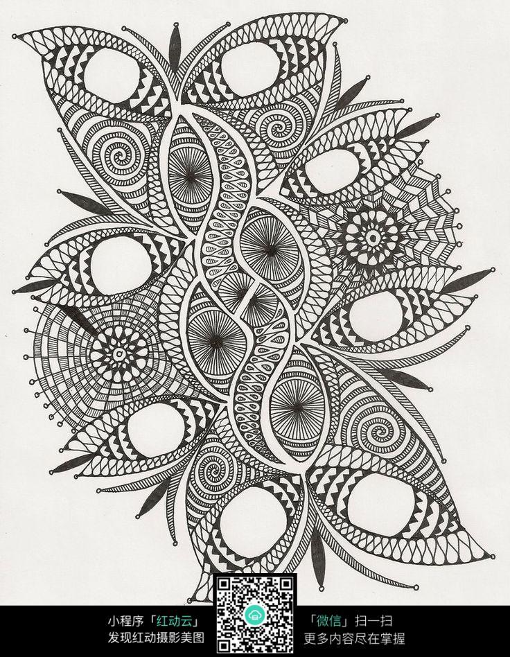 传统花纹线稿 手绘黑白装饰画 复杂传统花纹插图 民族植物花卉插画