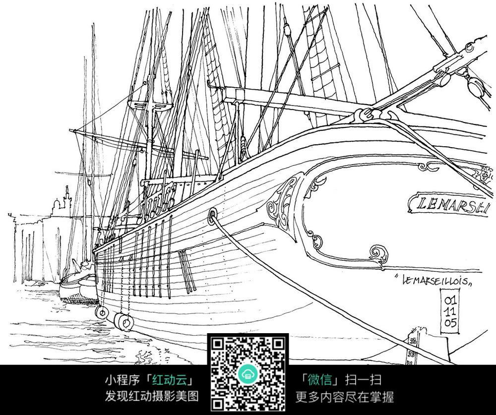 大游轮手绘线稿图图片