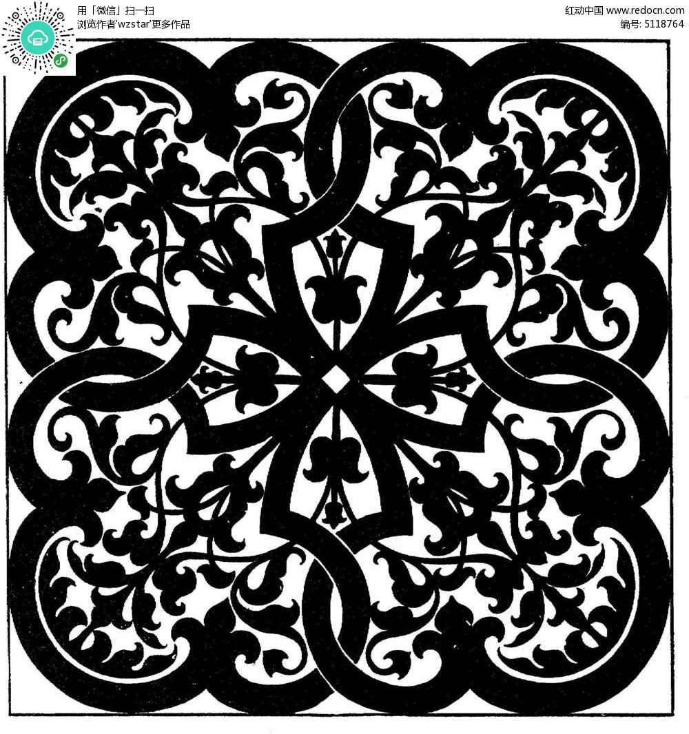 对称复古植物花纹