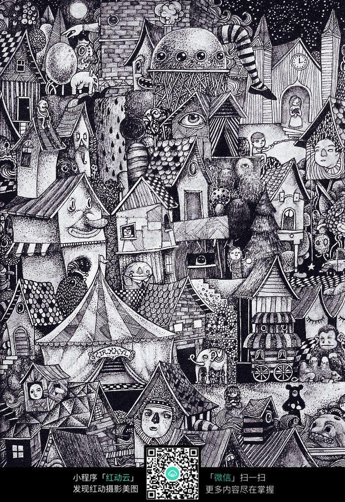 房屋 建筑 城镇 花纹 图案 手绘 黑白 构成 创意 设计