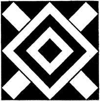 方形对称的线描花边素材