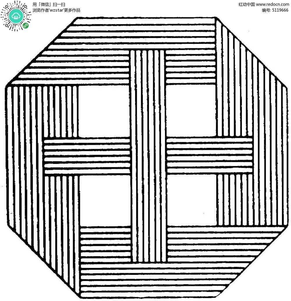 几何动物画 黑白线描