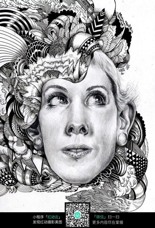 发型装饰手绘设计图图片