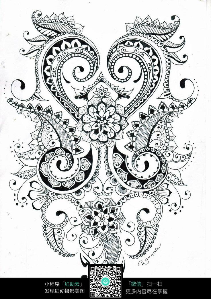 复杂黑白民族花纹 手绘黑白装饰画