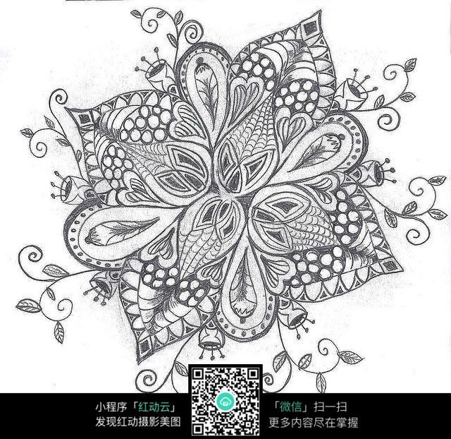 复杂花朵花纹铅笔画 其他图片 红动手机版