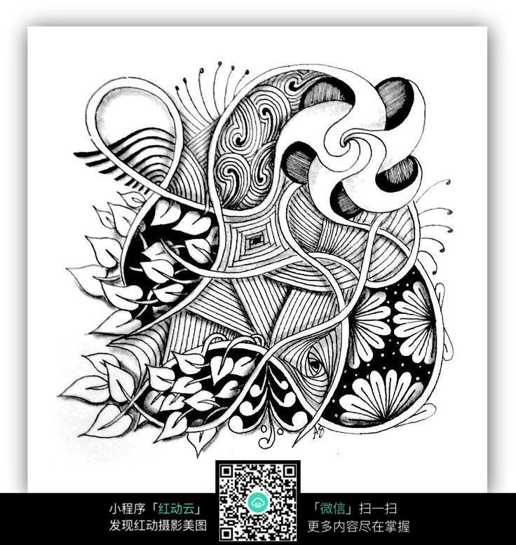 复杂花卉手绘图案设计图片