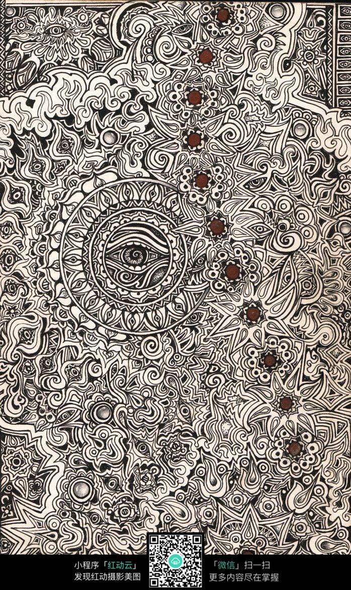 复杂花纹手绘排线设计