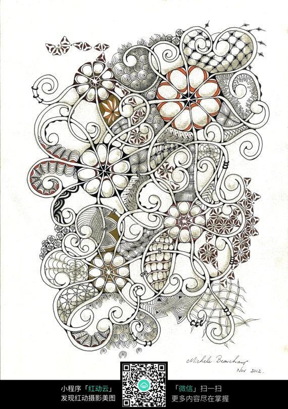 复杂花纹手绘图
