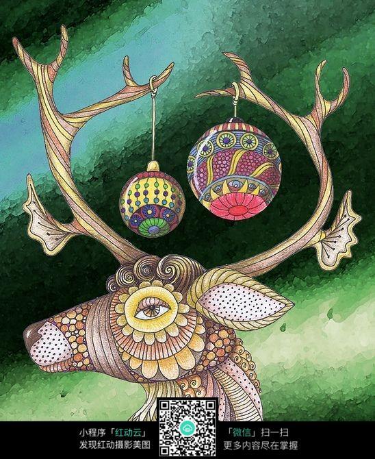 关于长颈鹿的创意手绘彩色插画