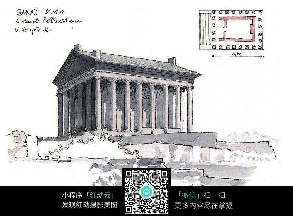 古建筑手绘水彩线描图图片
