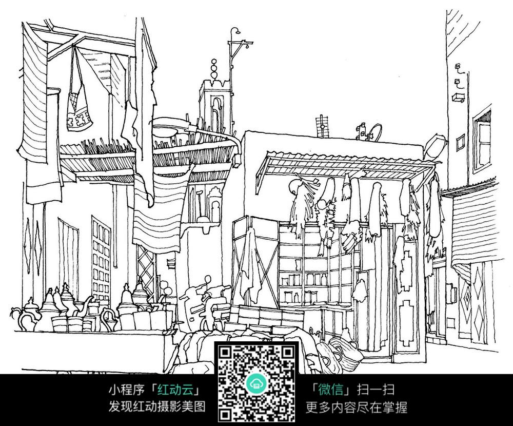 古街手绘线描图图片