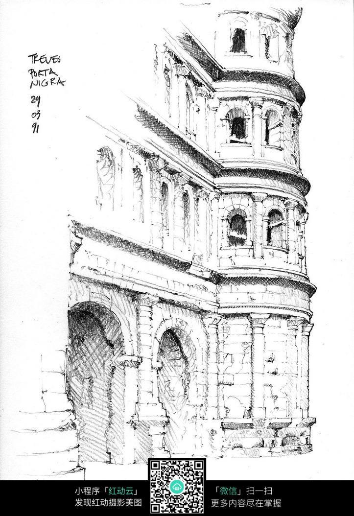 国外城堡墙面手绘图图片