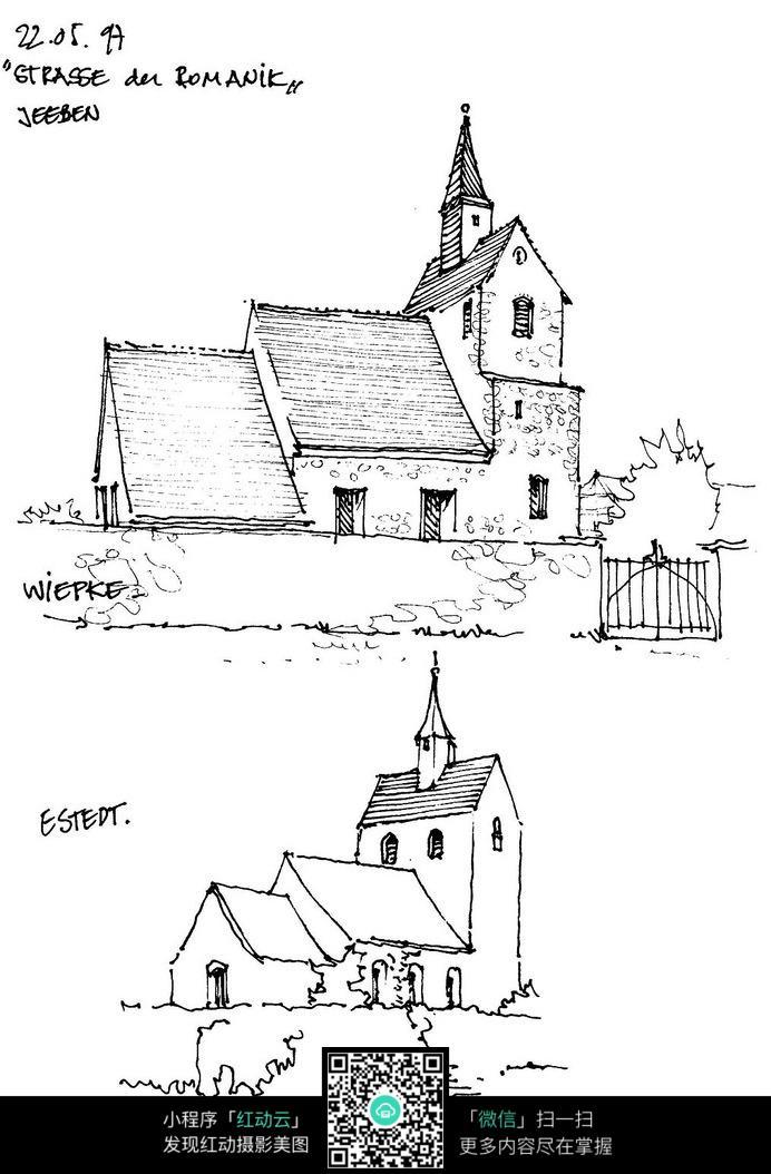 国外乡村建筑设手绘图图片