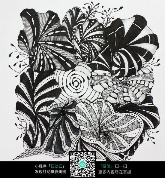 黑白分明手绘设计图素材图片