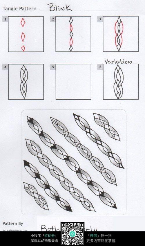 花环花边 手绘黑白花纹 彩色装饰画 复杂排线花纹插图 植物花卉插画 j