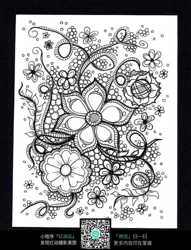 黑白花卉插图 手绘黑白装饰画