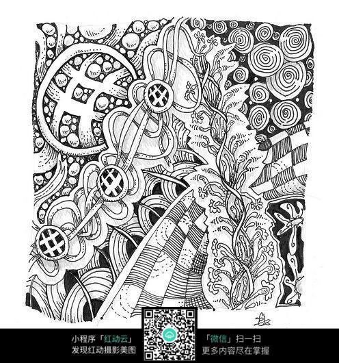 黑白线条插画设计图片