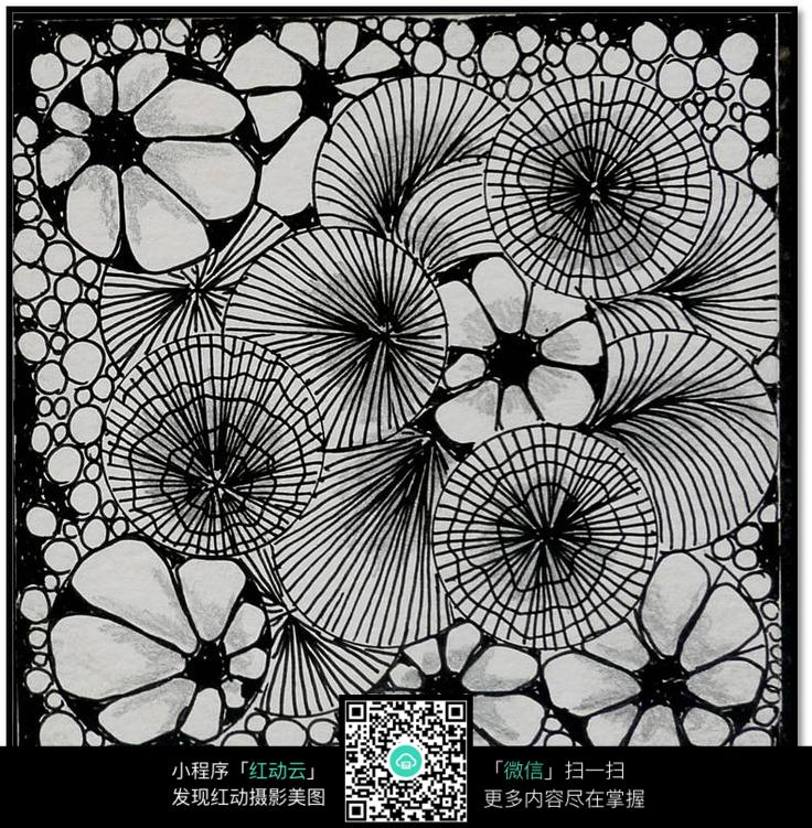 圆圈花朵花纹 手绘黑白装饰画 复杂传统花纹插图 民族植物花卉插画