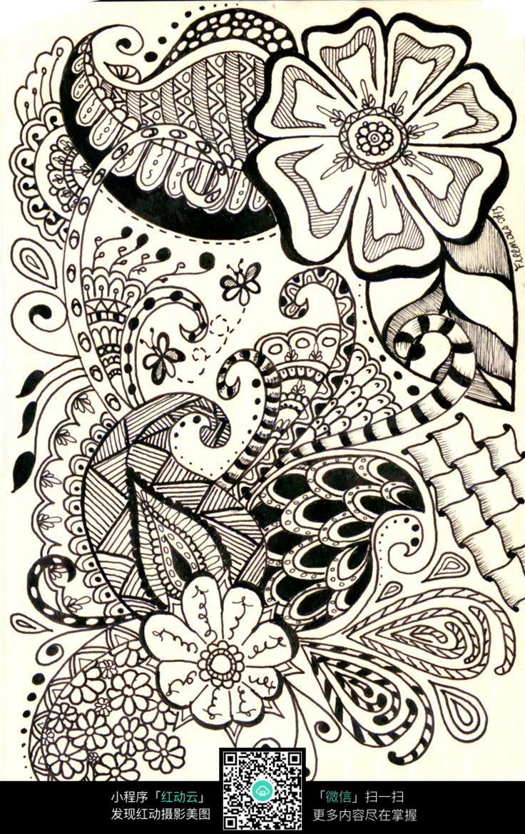 黑白植物线描装饰画_黑白装饰画线描花卉展示_琴棋书画