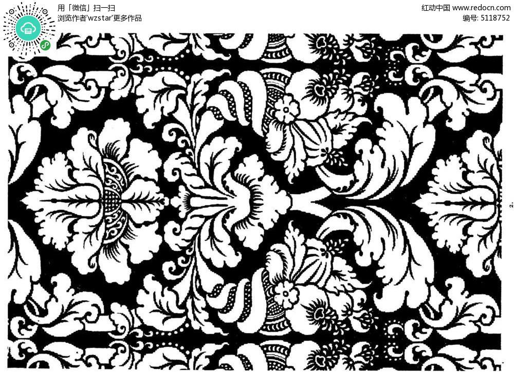 黑白植物花纹图片