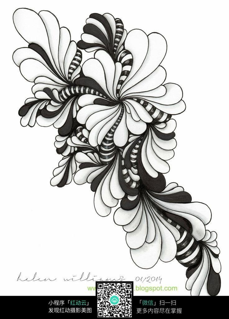 黑白植物花纹装饰画