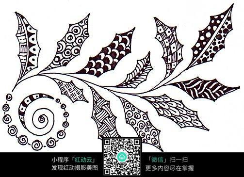 黑白植物树叶花纹