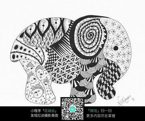免费素材 图片素材 漫画插画 其他 黑白装饰画大象图片