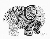 黑白装饰画大象