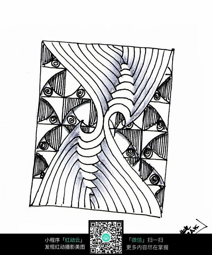 曲线花纹 手绘黑白装饰画 复杂传统花纹插图 民族植物花卉插画 jpg