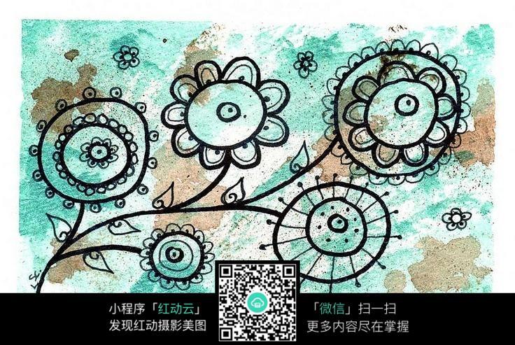 黑色花朵线条 手绘黑白装饰画 复杂传统花纹插图 民族植物花卉插画