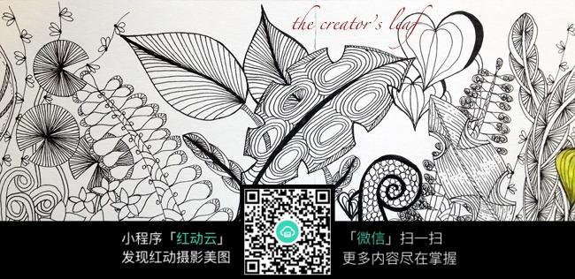 手绘叶子装饰画