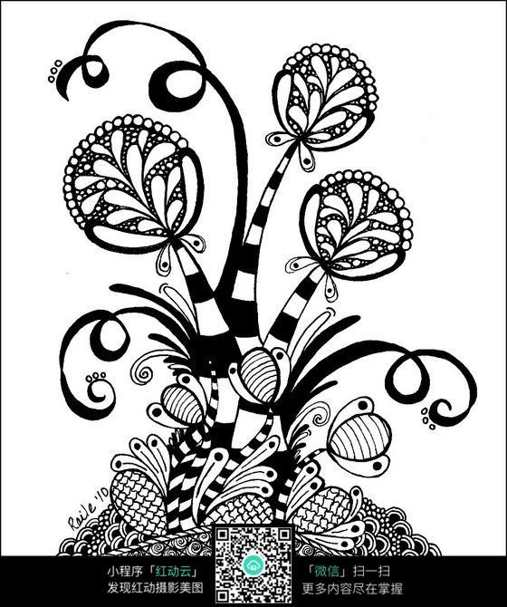 花朵简洁手绘图案素材图片