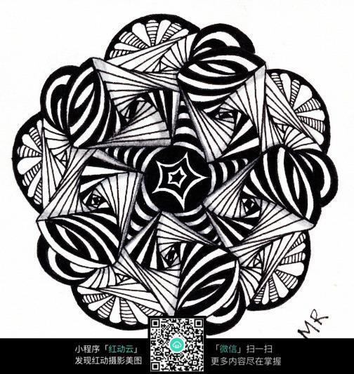 花卉黑白插画设计图片