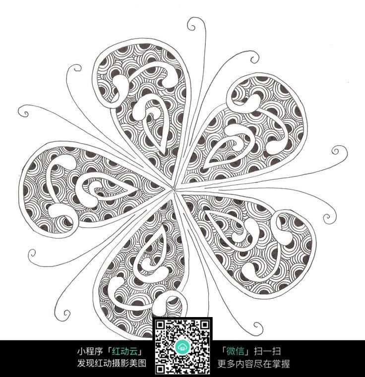 蝴蝶 翅膀 拼接 图案 手绘 黑白 构成 唯美