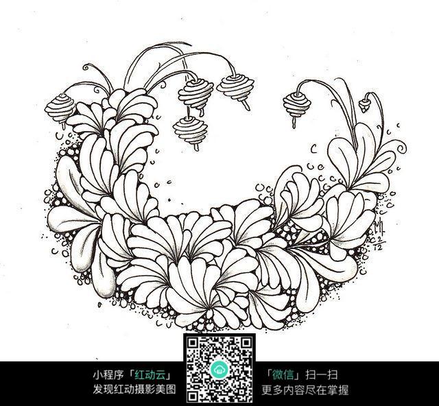 含梅花的黑白装饰画展示