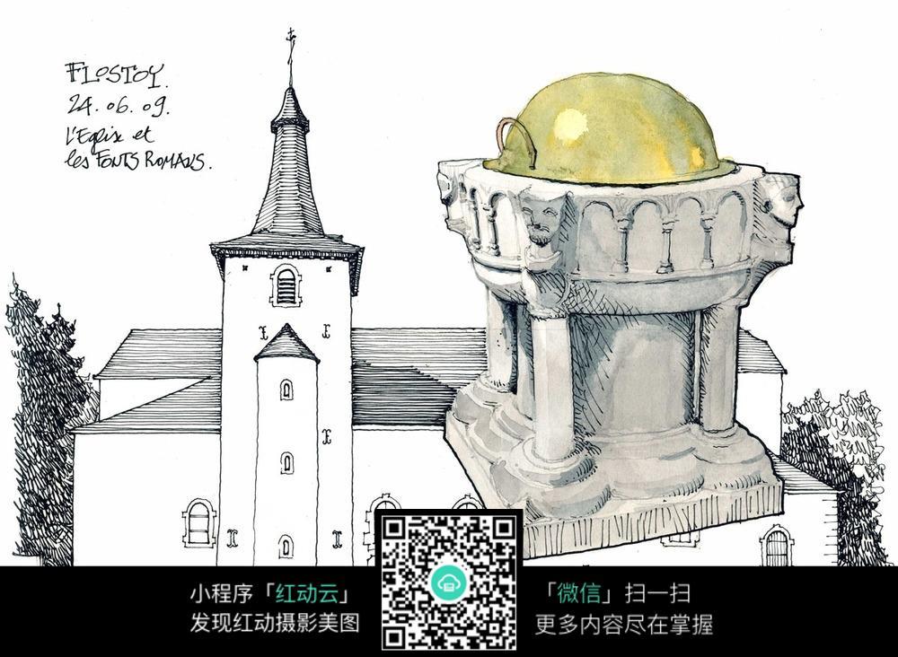 建筑雕塑手绘图图片
