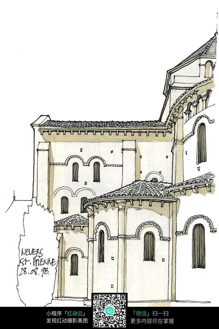 建筑手绘彩色稿图片