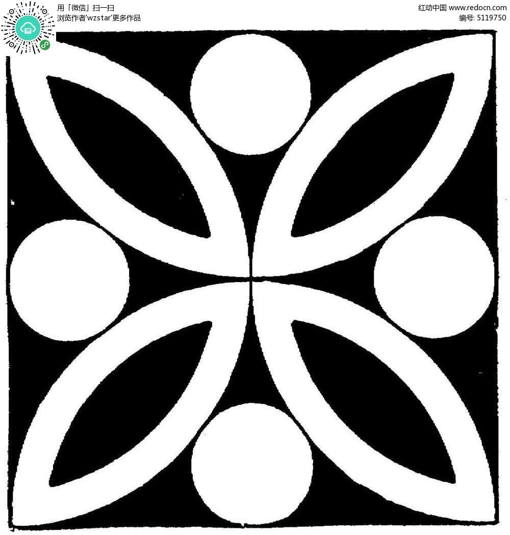 几何黑白花卉图案设计tif素材免费下载_红动网