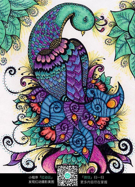 精美孔雀花纹手绘图